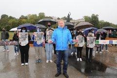Christian Springer, 40 Jahre Oktoberfestattentat, Gedenken mit Christian Springer unter der Bavaria auf der Theresienwiese in München 2020