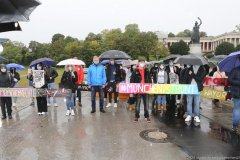 Christian Springer (Mitte), 40 Jahre Oktoberfestattentat, Gedenken mit Christian Springer unter der Bavaria auf der Theresienwiese in München 2020