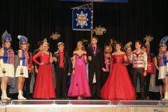 Prinzenpaar Nina I. und Lukas I. (von li. nach re.), Inthronisation der Würmesia Prinzenpaare in der Mehrzweckhalle in Neuried  2020