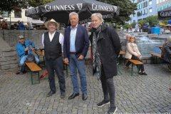 Paul, Daly, Dieter Reiter, Johnny Logan (von li. nach re.), Munich Irish Nights am Rindermarkt 2021