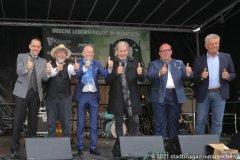 Lejeune,  Johnny Logan, Clemens Baumgärtner, Dieter Reiter (von li. nach re.), Munich Irish Nights am Rindermarkt 2021