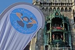 Infostand Marienplatz, Banner, Munich Unplugged bei den Innstadtwirten in München 2019