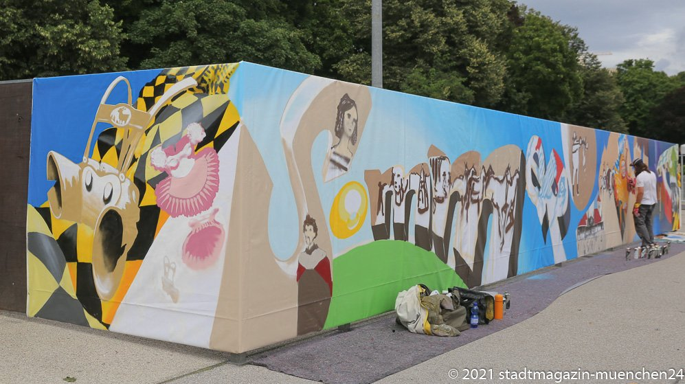 Sommer in der Stadt, Graffiti auf der Theresienwiese, Loomit 2021