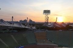 Sonnenaufgang Zeltdachtour im Olympiastadion in München 2019