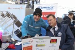 Franz Müllner (li.), Weltrekordversuch: Franz Müllner will das Riesenrad aus eigener Kraft bewegen 2019