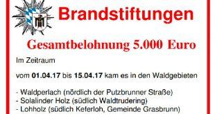 Belohnung Brandstiftungen München Waldtrudering