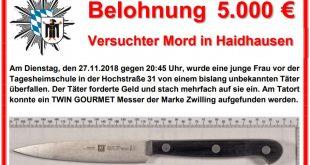 Fahndungsplakat Mordversuch mit Messer in der Hochstraße München Quelle Plakat Polizeipräsidium München
